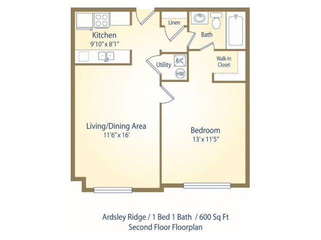 One Bedroom One bath apartment floor plan A