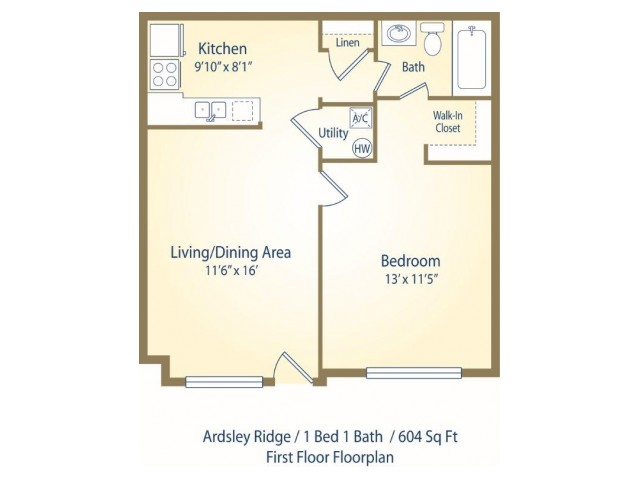 Two bedroom one and half bath apartment floor plan B