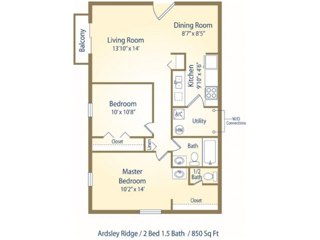 Two bedroom one and half bath apartment floor plan B1