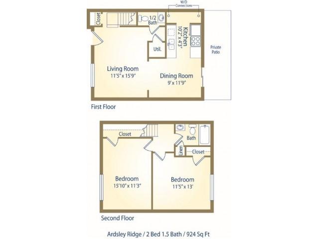 Two Bedroom one and half bath apartment floor plan BTH