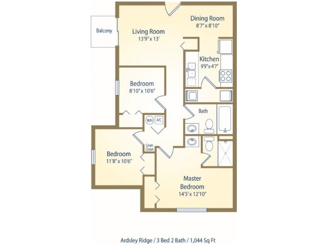 Three Bedroom Two Bath apartment floor plan D1