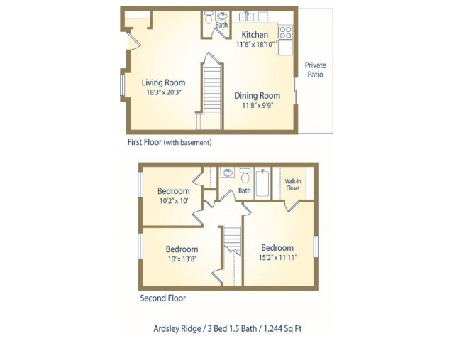 Three Bedroom One and Half Bath apartment floor plan DTH