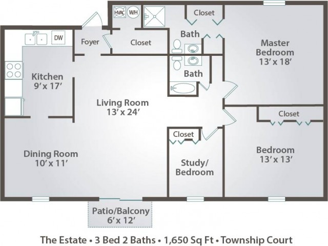 floor plan D three bedroom with one and half bath