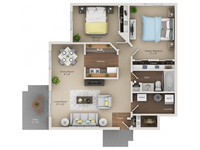 2 Bed 1 Bath Apartment In Schaumburg Il Village Green Of Schaumburg
