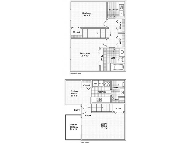 floor plan B 2 bedroom 1.5 bath