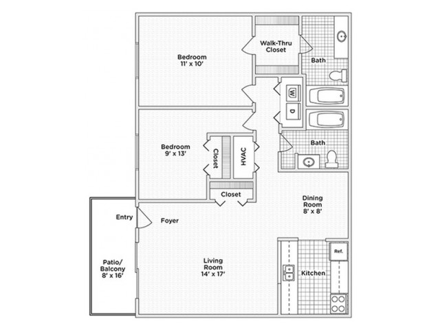 floor plan C 2 bedroom 2 bath