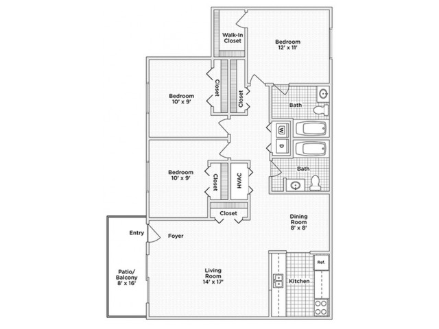 floor plan D 3 bedroom 2 bath