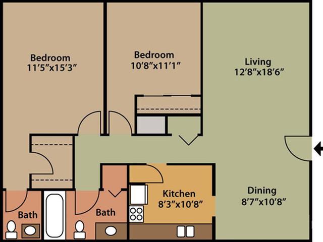 floor plan B two bedroom 1.5 bath