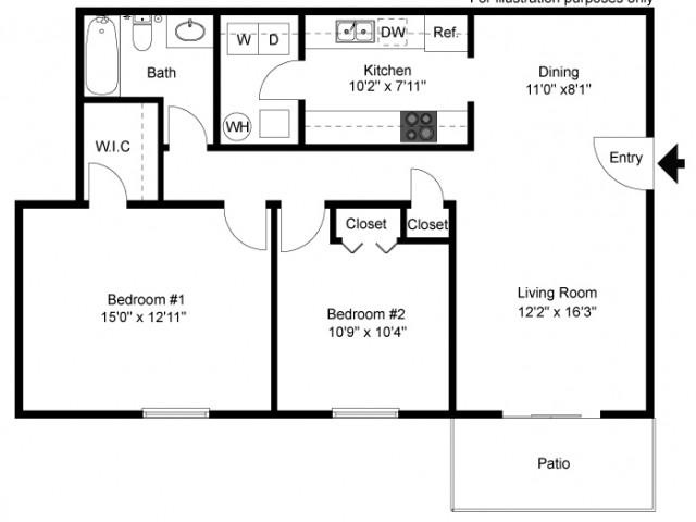 floor plan Windsor B two bedroom one bath