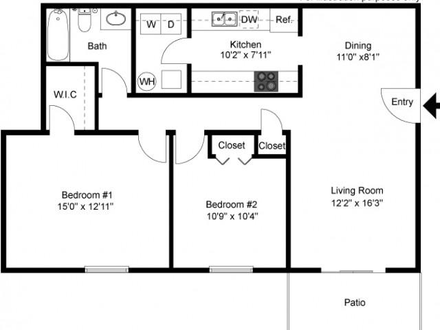 floor plan windsor B1 two bedroom one bath