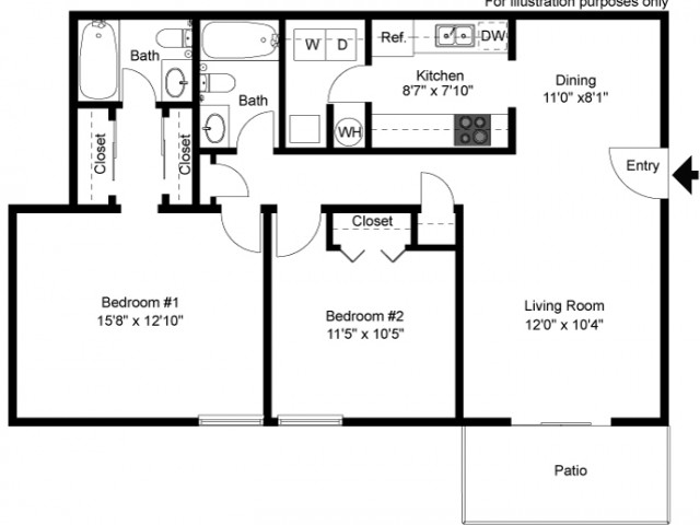 floor plan Buckingham C two bedroom two bath