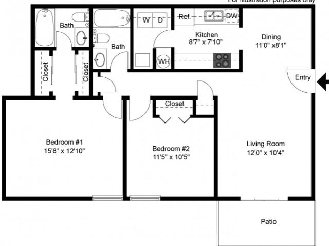floor plan Buckingham C1 two bedroom two bath