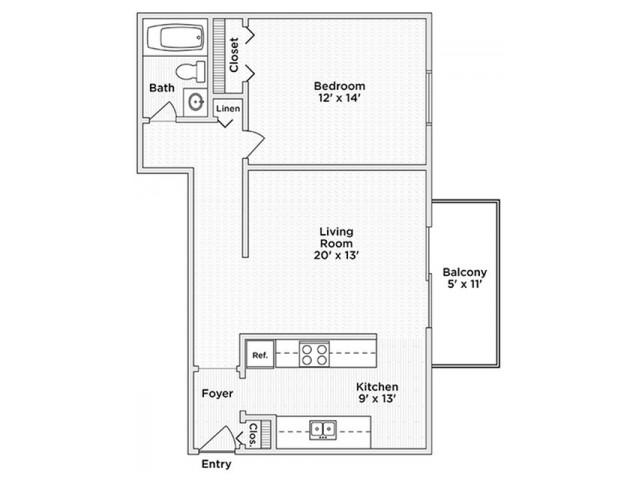 floor plan A1 oen bedroom one bath