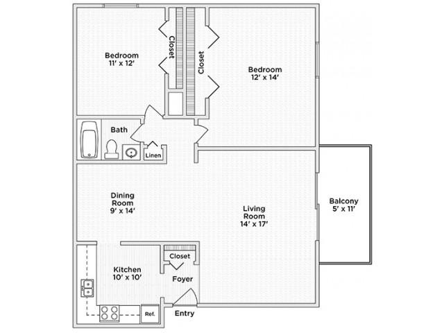 floor plan B one bedroom one and half bath
