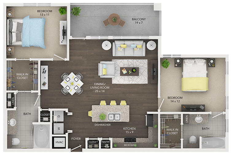 two bedroom with two bath apartment floor plan C2