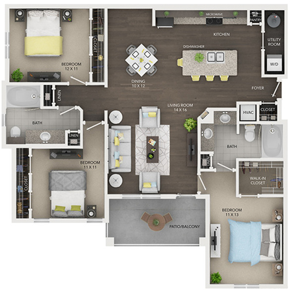 three bedroom with two bath apartment floor plan D1