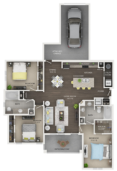 three bedroom with two bath apartment floor plan D2