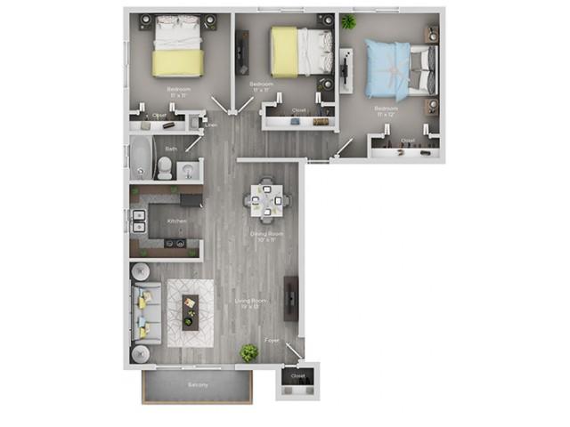 3 bedroom 3 bath apartment floor plan