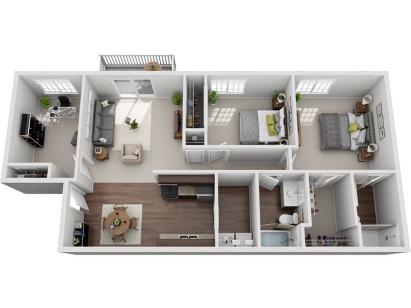 two bed two bath plus den floor plan