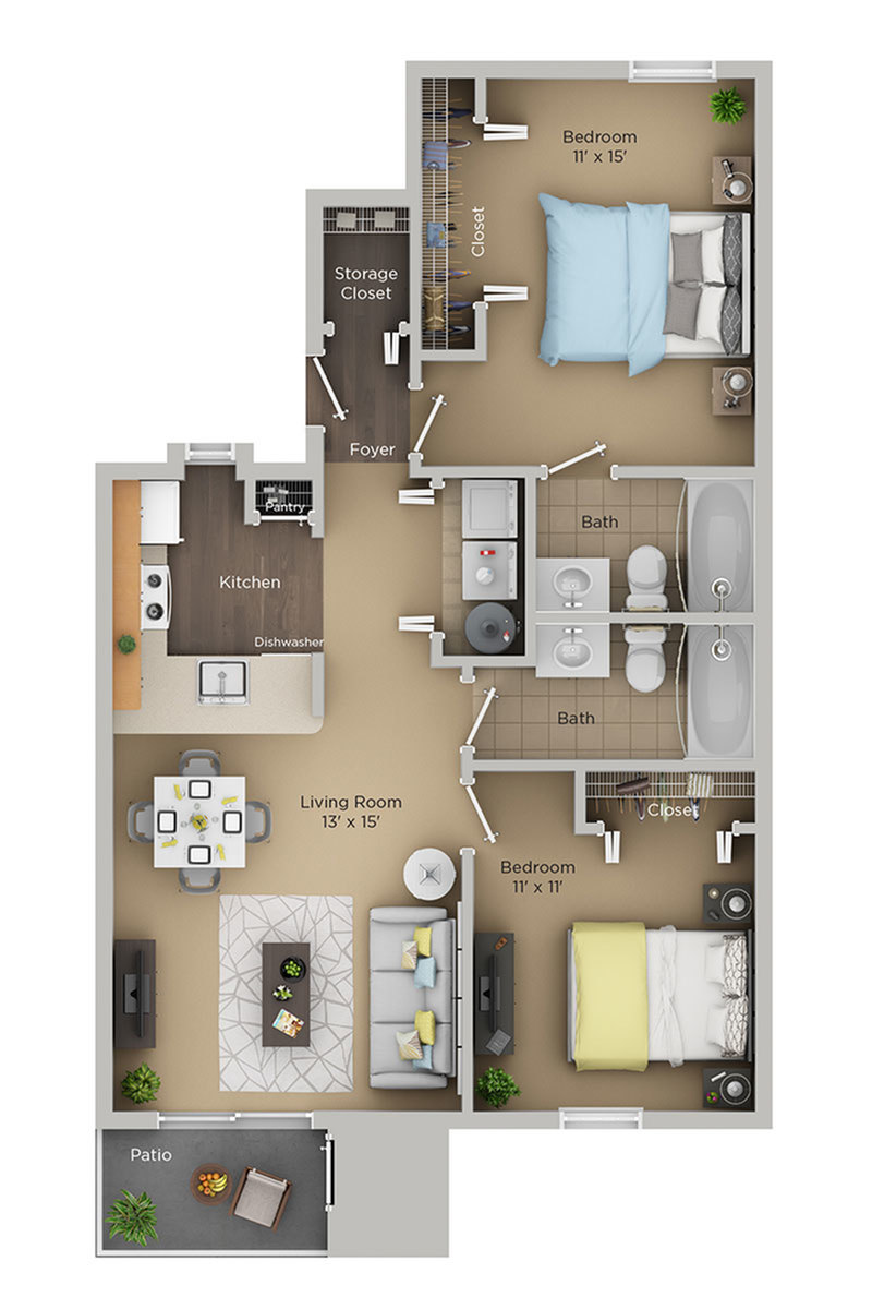 two bed two bath Cp floor plan