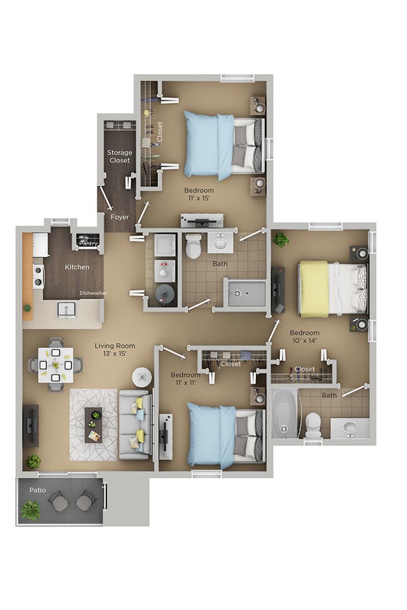 three bed two bath D floor plan