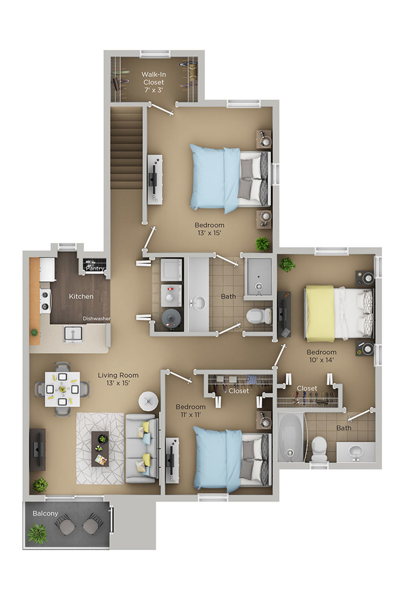 three bed two bath D1p floor plan