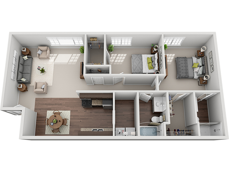 two bed two bath C1d floor plan