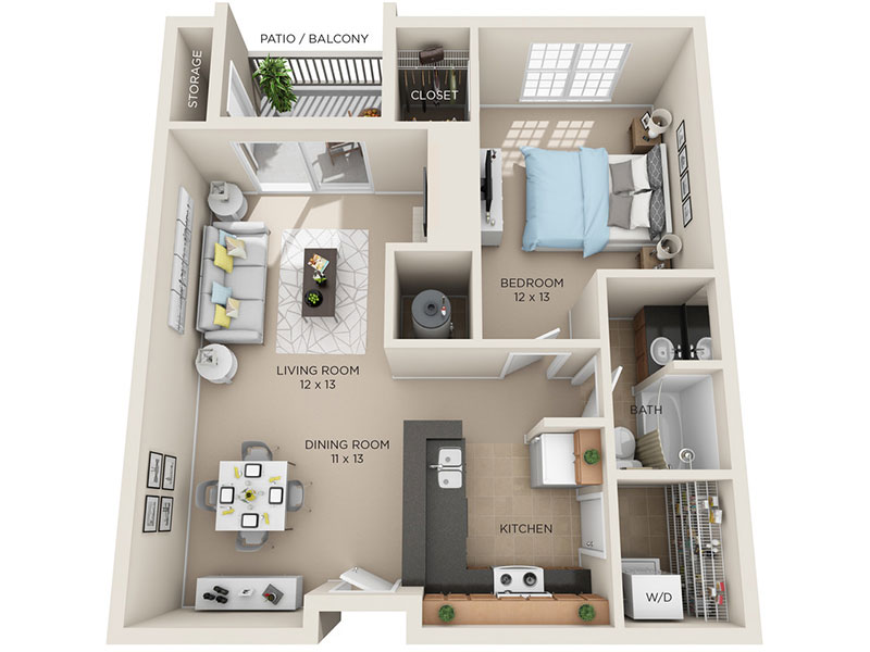 One Bed, One Bath A3 floor plan