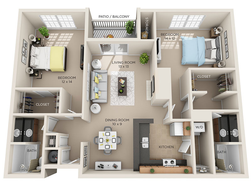 Two Bed, Two Bath C1p floor plan