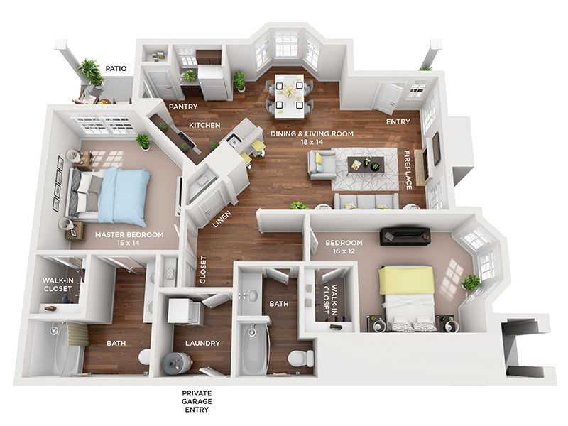 two bed two bath floor plan