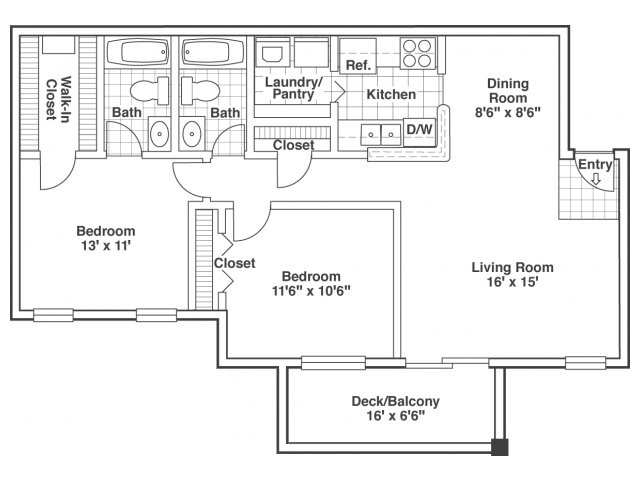two bed two bath Cypress floor plan