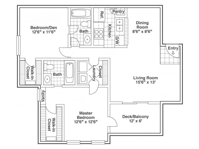 two bed two bath Dogwood floor plan