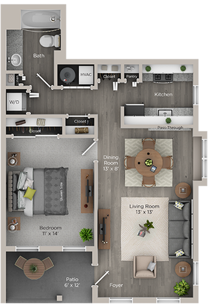 one bed one bath A floor plan