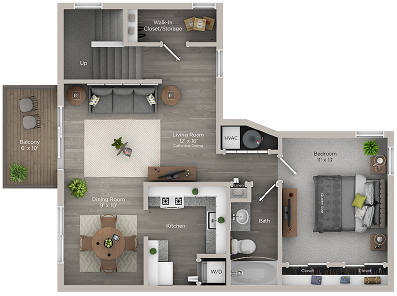 one bed one bath A2 floor plan