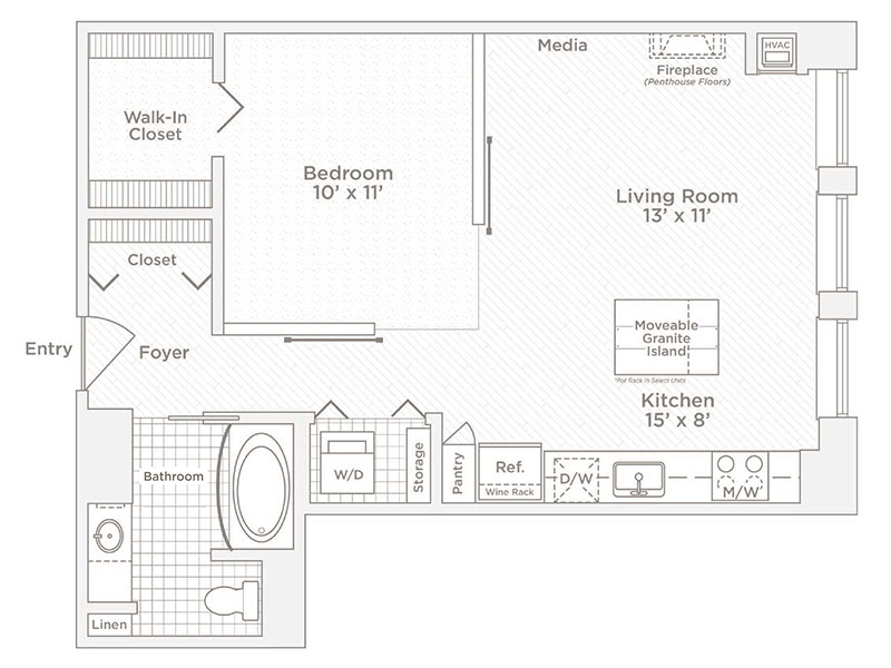 one bedroom one bath A floor plan