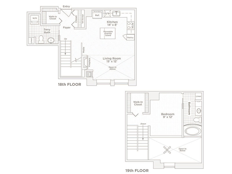 one bedroom one bath A7 floor plan