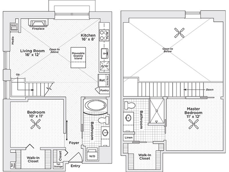 two bedroom two bath C3 floor plan
