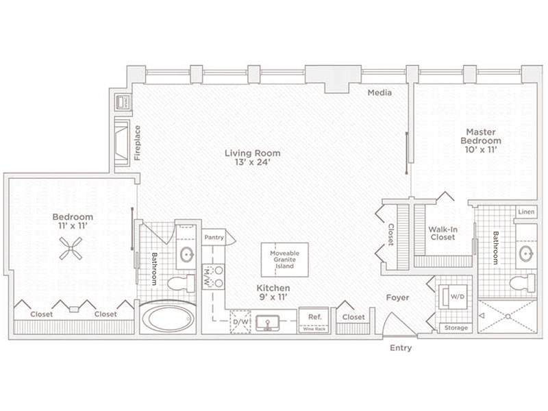 two bedroom two bath C4 floor plan