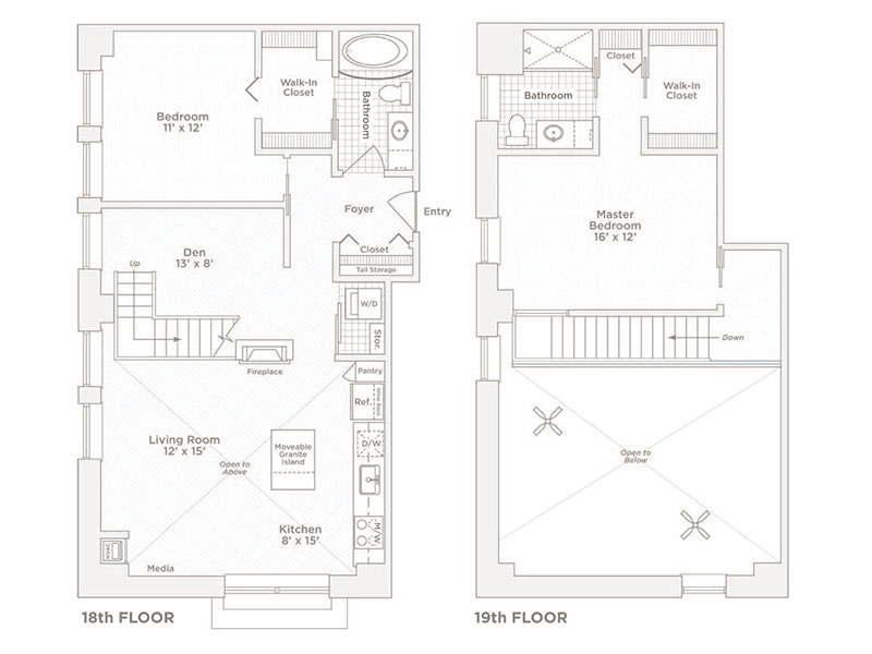 two bedroom two bath C13 floor plan