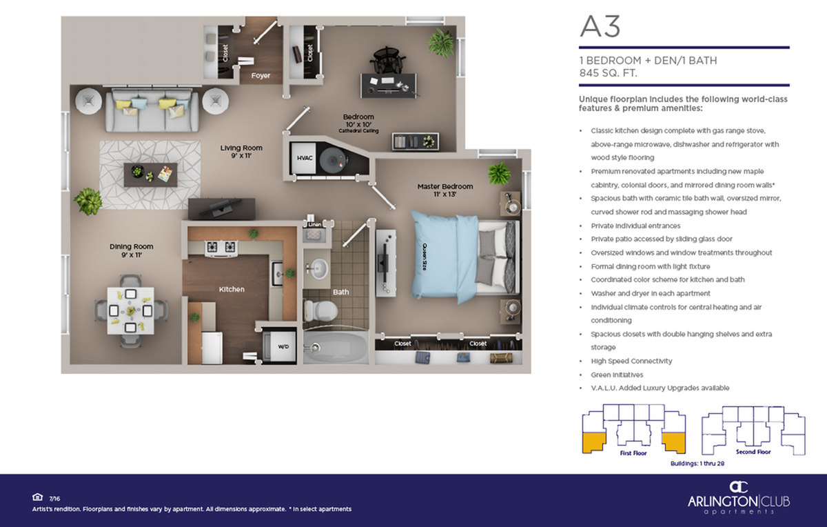 one bed one bath A3 floor plan