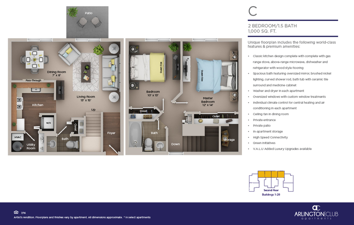 two bed one and half bath C floor plan