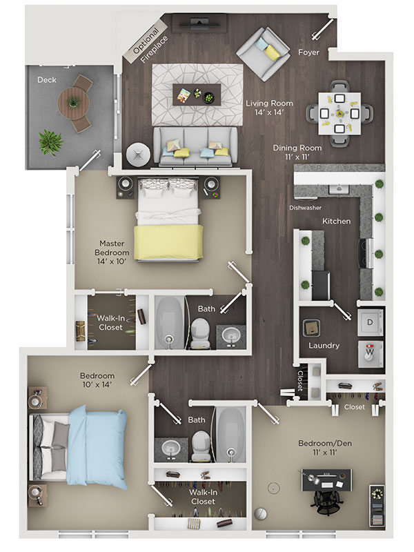 Three Bedroom Two Bathroom Apartment