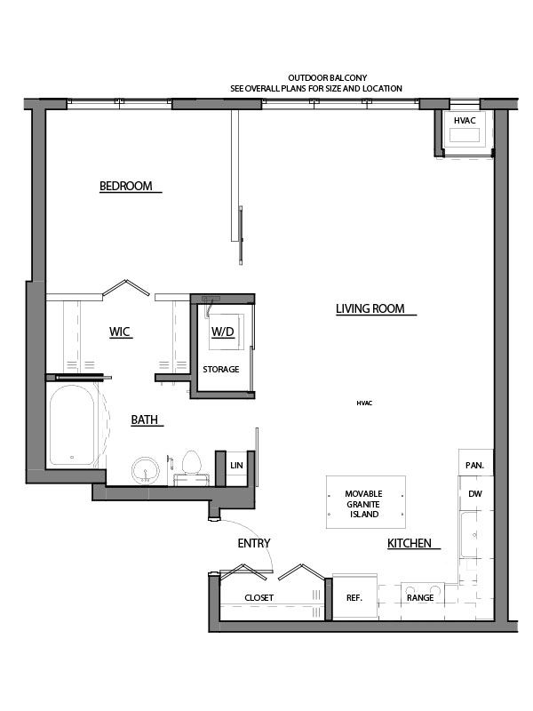 one bed one bath A4 floor plan