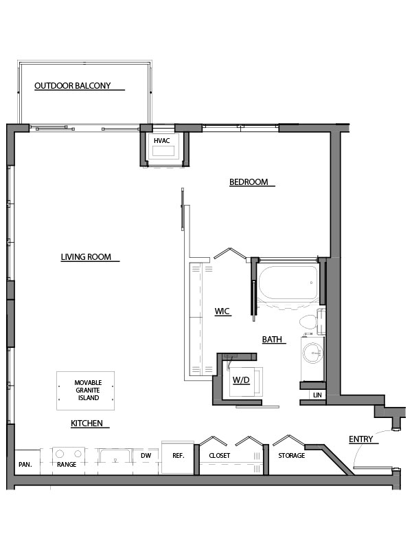 one bed one bath A7 floor plan