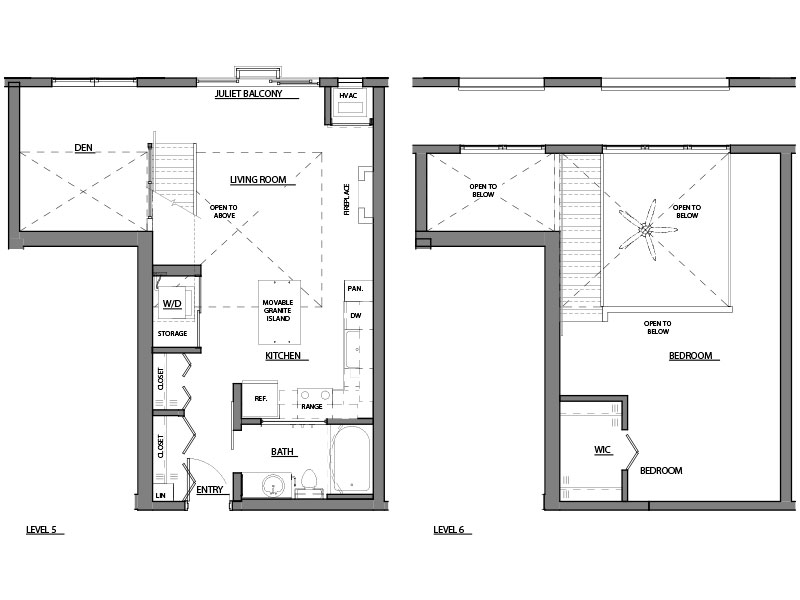 one bed plus den one bath A14 floor plan