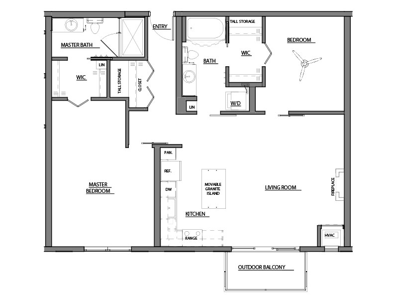 two bed two bath C7 floor plan