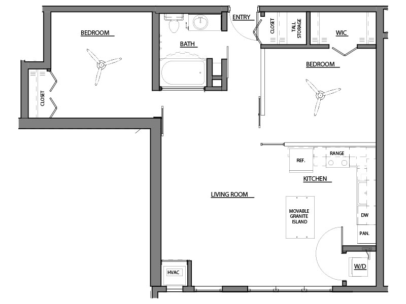 two bed one bath B1 floorplan