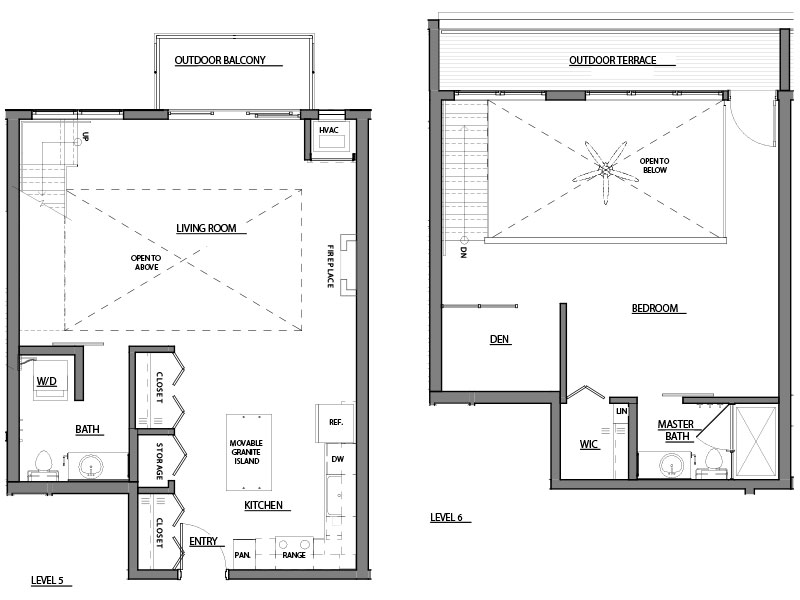 one bed plus den one bath A17 floorplan