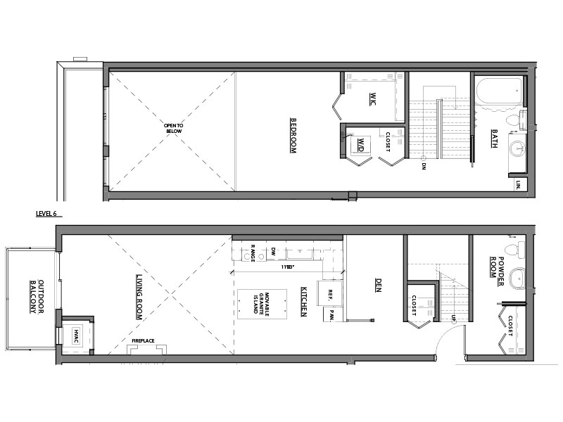 one bed one bath A16 floorplan