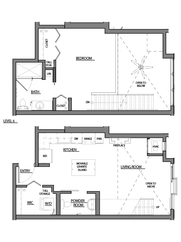 one bed one bath A9 floorplan